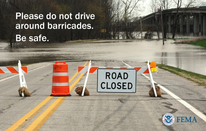 Graphic: Please do not drive around barricades